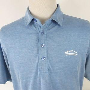 Travis Mathew Large Golf Polo Shirt Blue Stretch